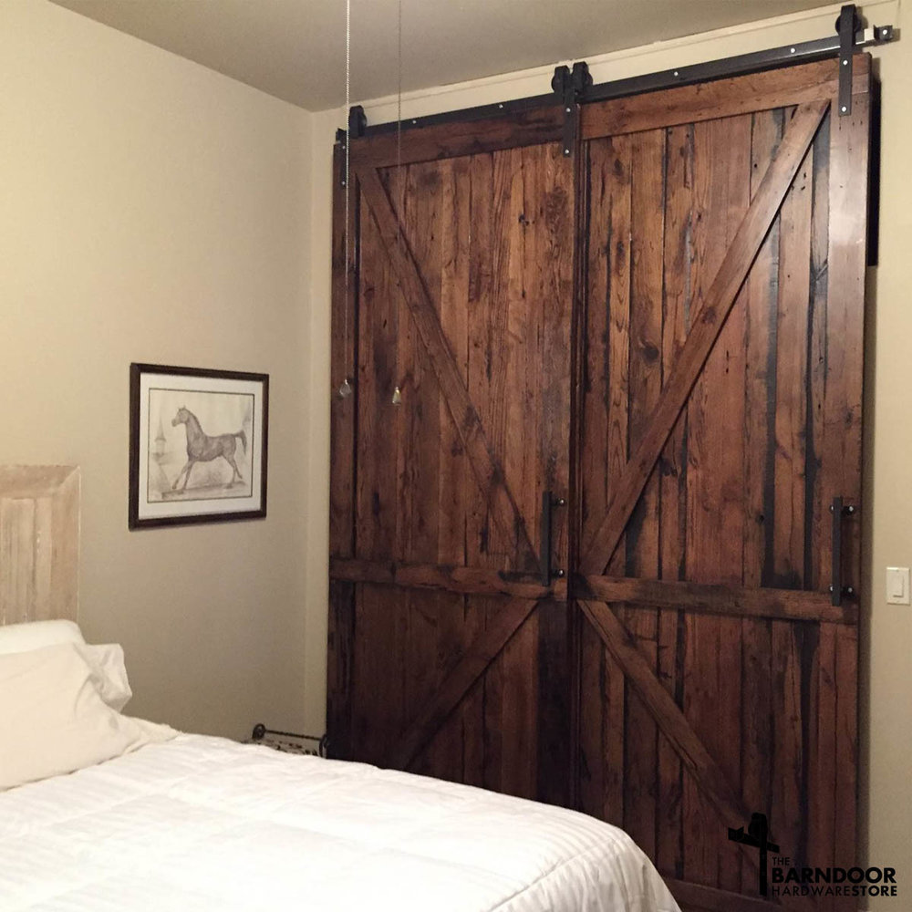 Single Track Bypass Sliding Barn Door Hardware Kit More Colors