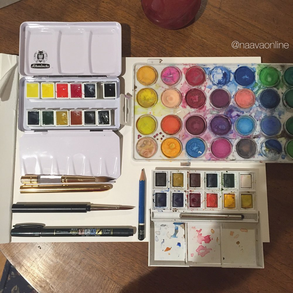 Expensive and not-so expensive watercolor palettes.