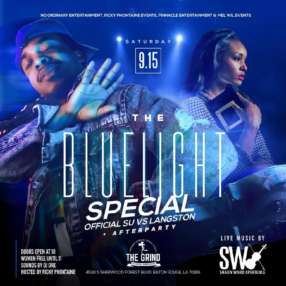 """🔷Saturday, September 15th, join us as we present: """"The Blue Light Special"""" The Official SU/Langston afterparty coming to you live from @thegrindbr 🔷Doors open at 10pm with @djdreceo providing the soundtrack and @rickyphontaine facilitating the positive vibes on the mic with Eric """"E.C."""" Raby hosting 🔷To make sure all the adults are in the groove, renowned violinist Shaun Ward @swxperience and band will fully add to the ambiance for the night 🔷To fully put that Jaguar swag on the night, we ask that you wear your favorite shade of blue to let these Langston Lions know how SU is coming through!🔷***LADIES FREE UNTIL 11pm***   #TheBlueLightSpecial is powered by:  @iammelvinwilson @cdiddyofbr @su80s90soldschoolreunion @rickyphontaine @therealblewis"""