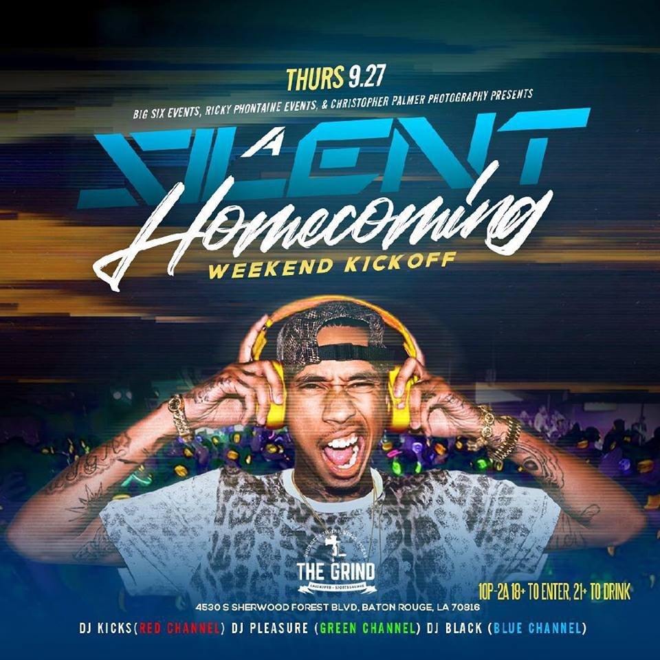 Homecoming Weekend Kickoff in a SILENT way! 3 DJs @godjblack, @dj_kicks, and @dj_pleasure225! Which Channel are you listening to? First 50 Tickets only $15! @bigsixevents @cpalmerphotos @therealblewis @rickyphontaine @johnniedomino