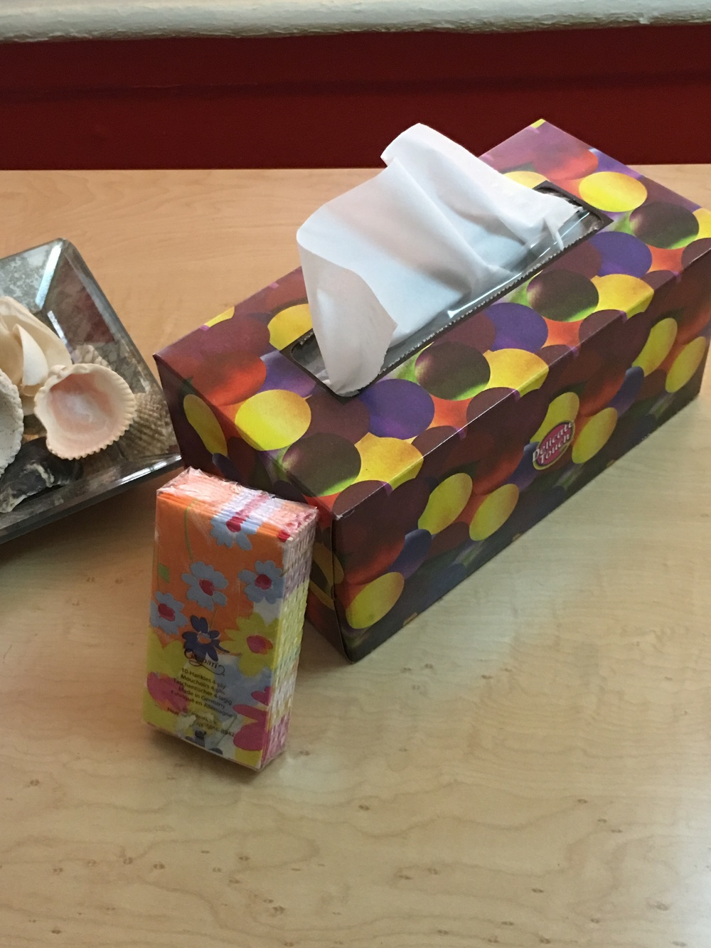 Listen, tissues are a must when on chemo!  Your eyes & nose just leak, at the most awkward times!  Keep em with you.