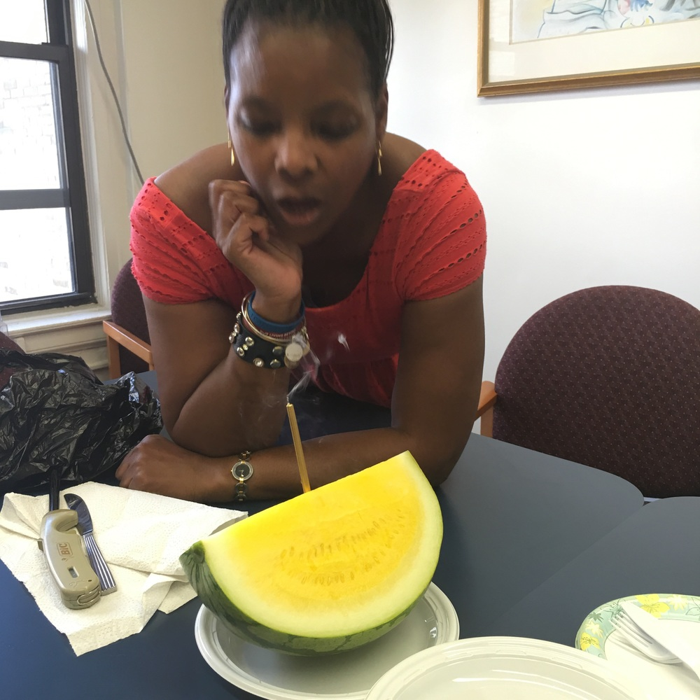 Celebrating my year finishing chemo!  I wish I could find more of these!  My first ever North Carolina Yellow Watermelon!  So good I'd definitely add it too the summer salad menu!