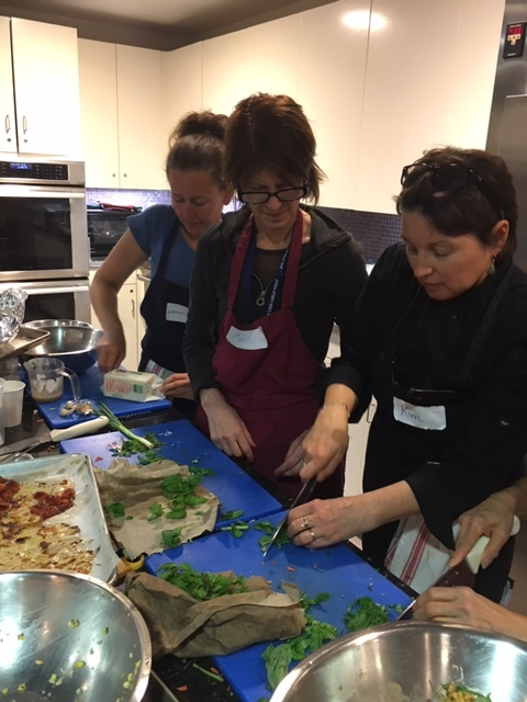 JCC's Wellness Director (in the middle) along with Chef Kim and a Chef assistant prepping the meals & chatting it up.