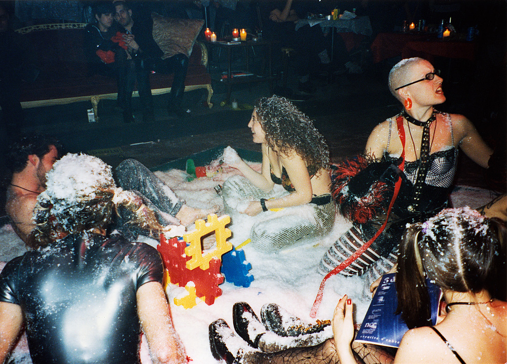 A sandbox of fake snow in a playground we built for a night on the Lower East Side.