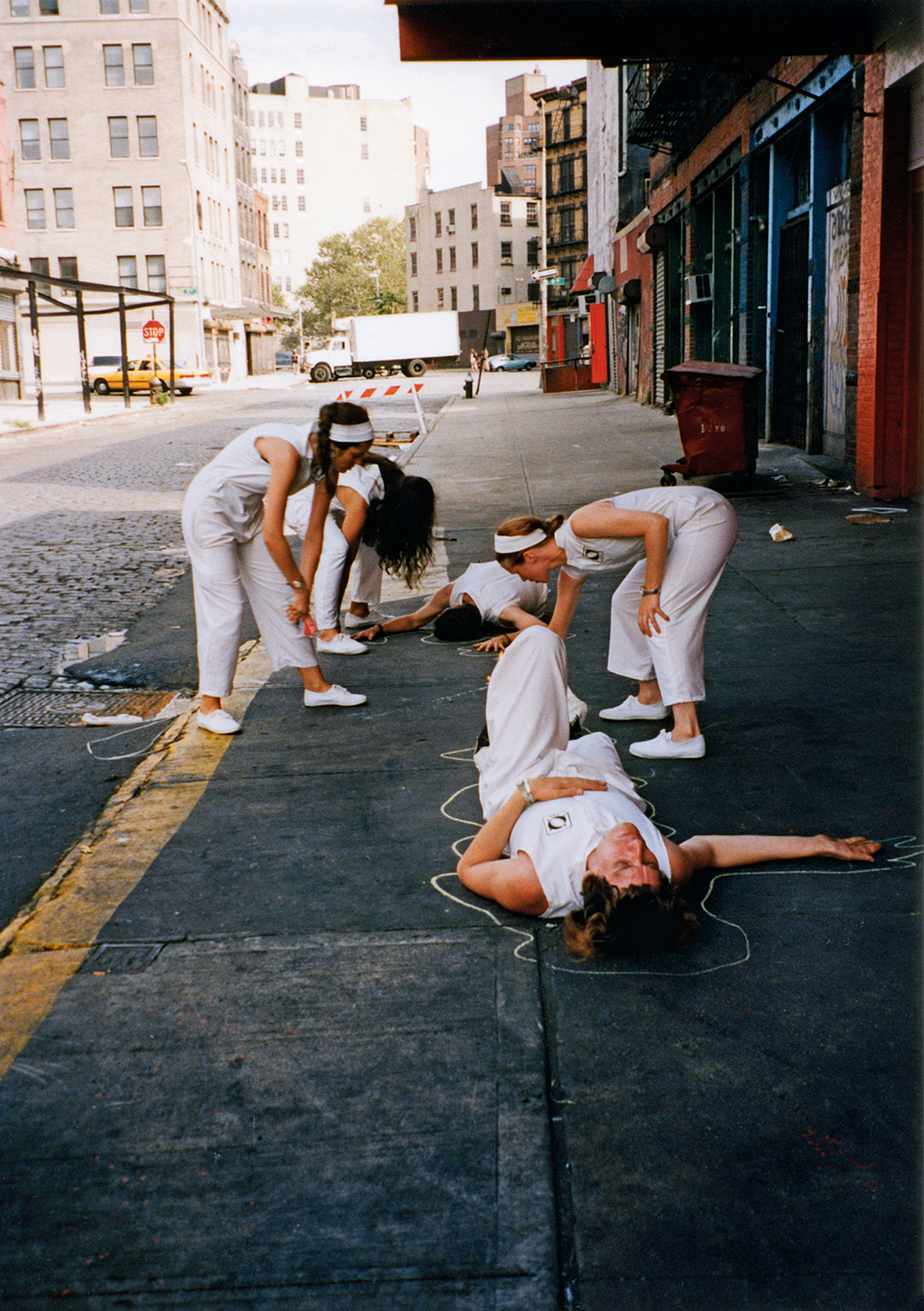 A street theater group doing scientific research in the meat packing district.