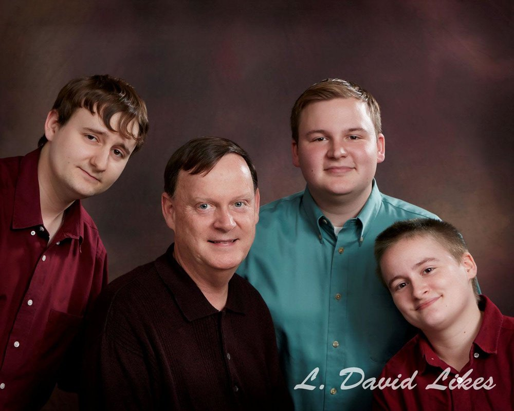 Dad and his three children portrait