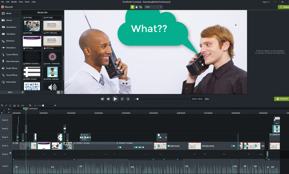 Camtasia is a screencasting software program that is kind of like desktop publishing for video.