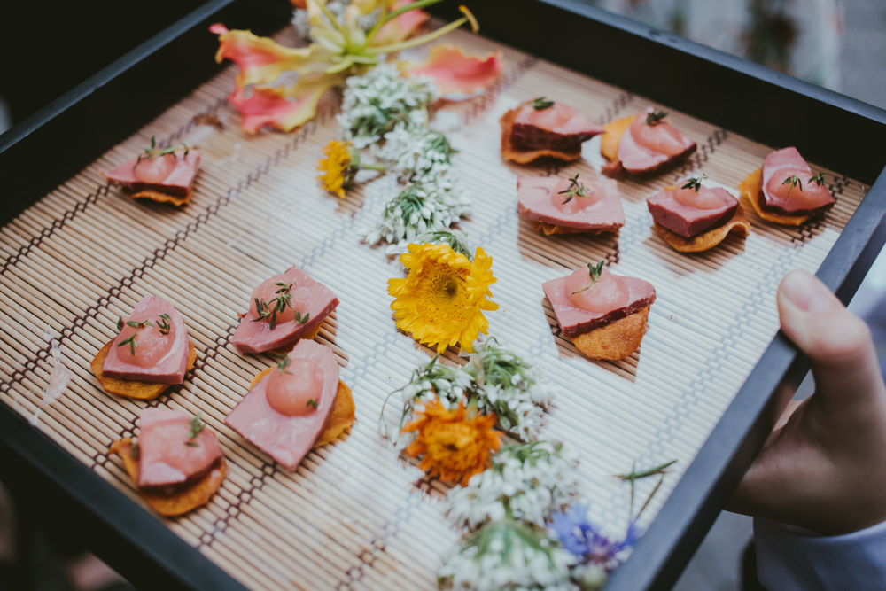 Smoked duck on sweet potato chip with ginger rhubarb compote.JPG