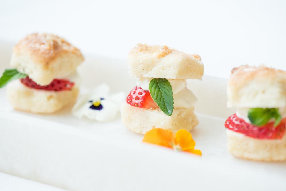 Miniature strawberry shortcakes