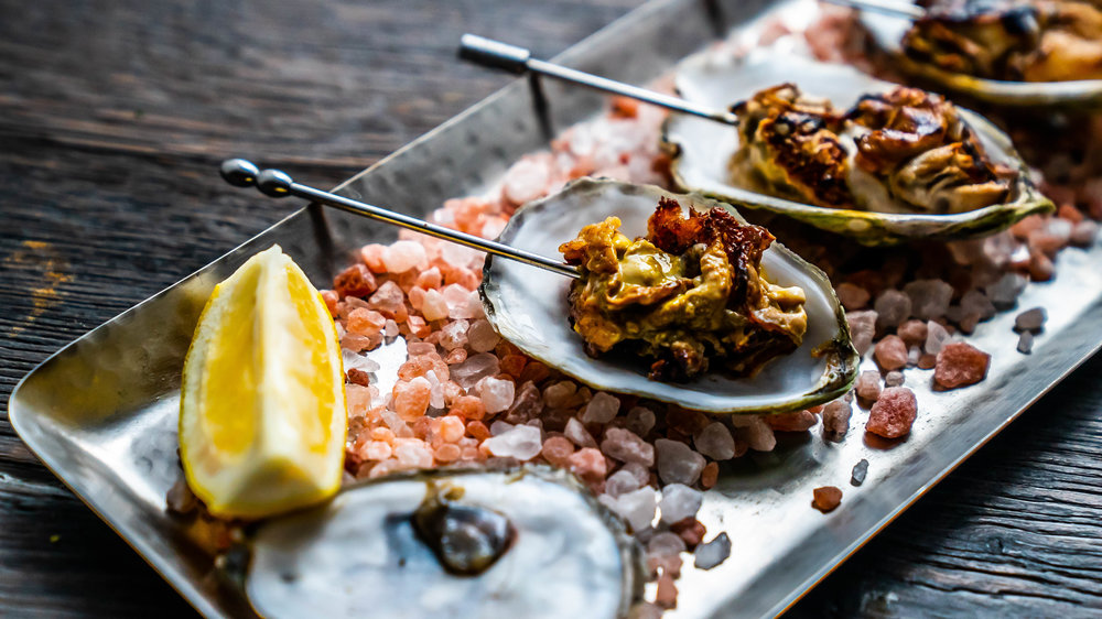 - Roasted beausoleil oysters with Vidalia onion marmalade
