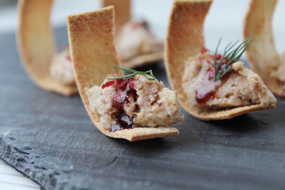 - Whitefish salad and cranberry on Melba toast