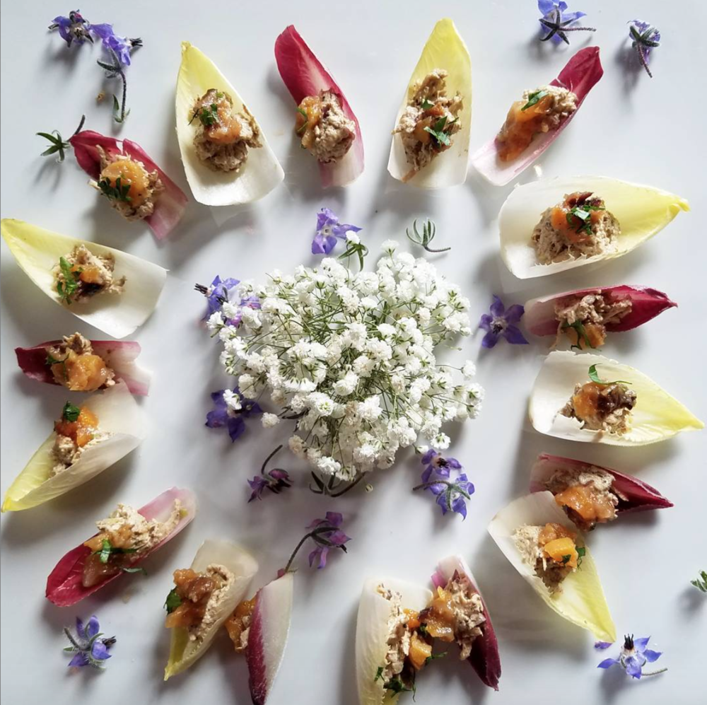 - Chicken with porcini mushrooms in endive petals with winter fruit compote