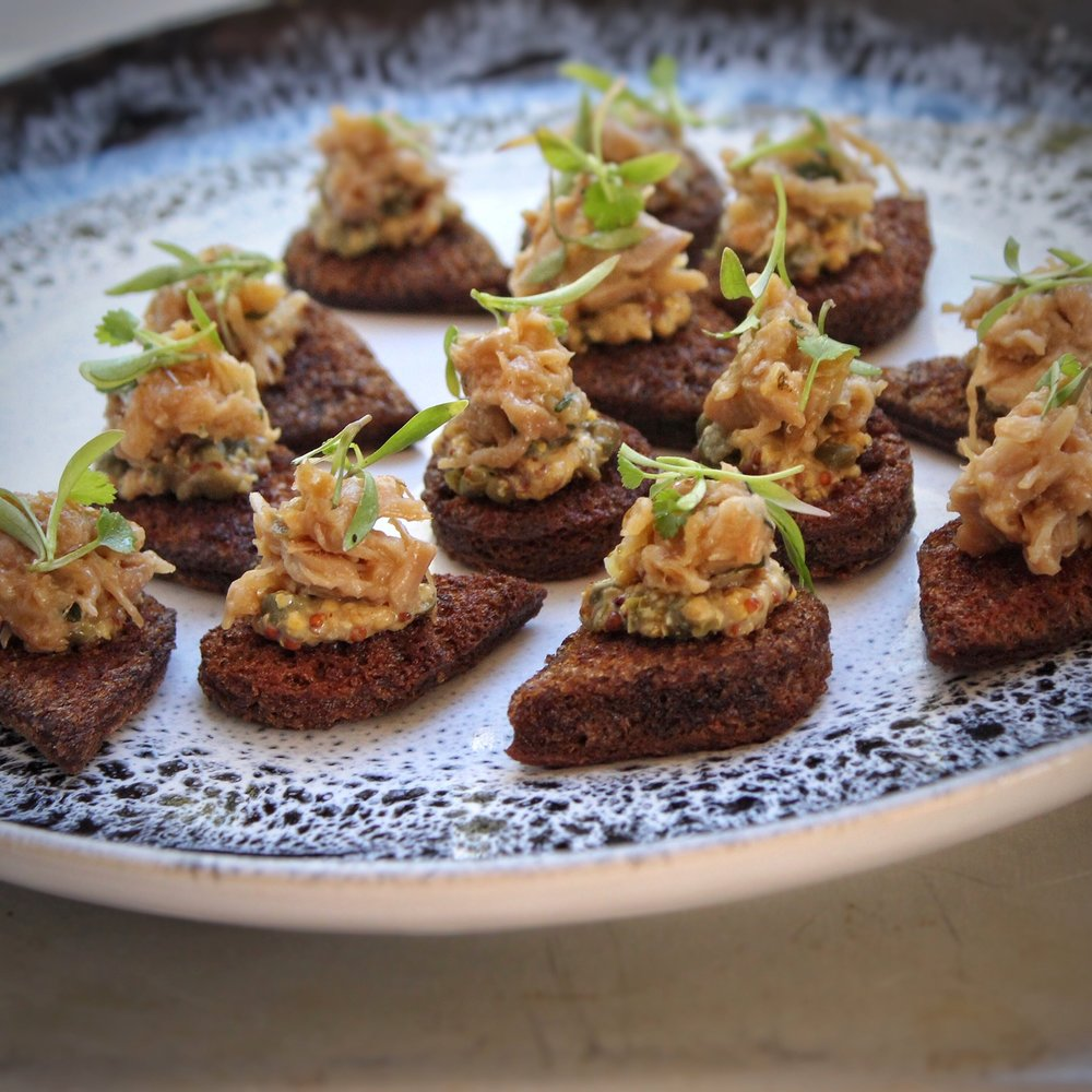 - Chicken rillettes, toasted brown bread with capers and mustard