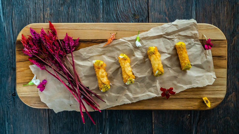 - Savory cannoli with whipped goat cheese and pistachio