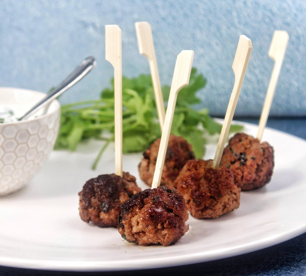 - Miniature lamb meatballs with yogurt-mint sauce