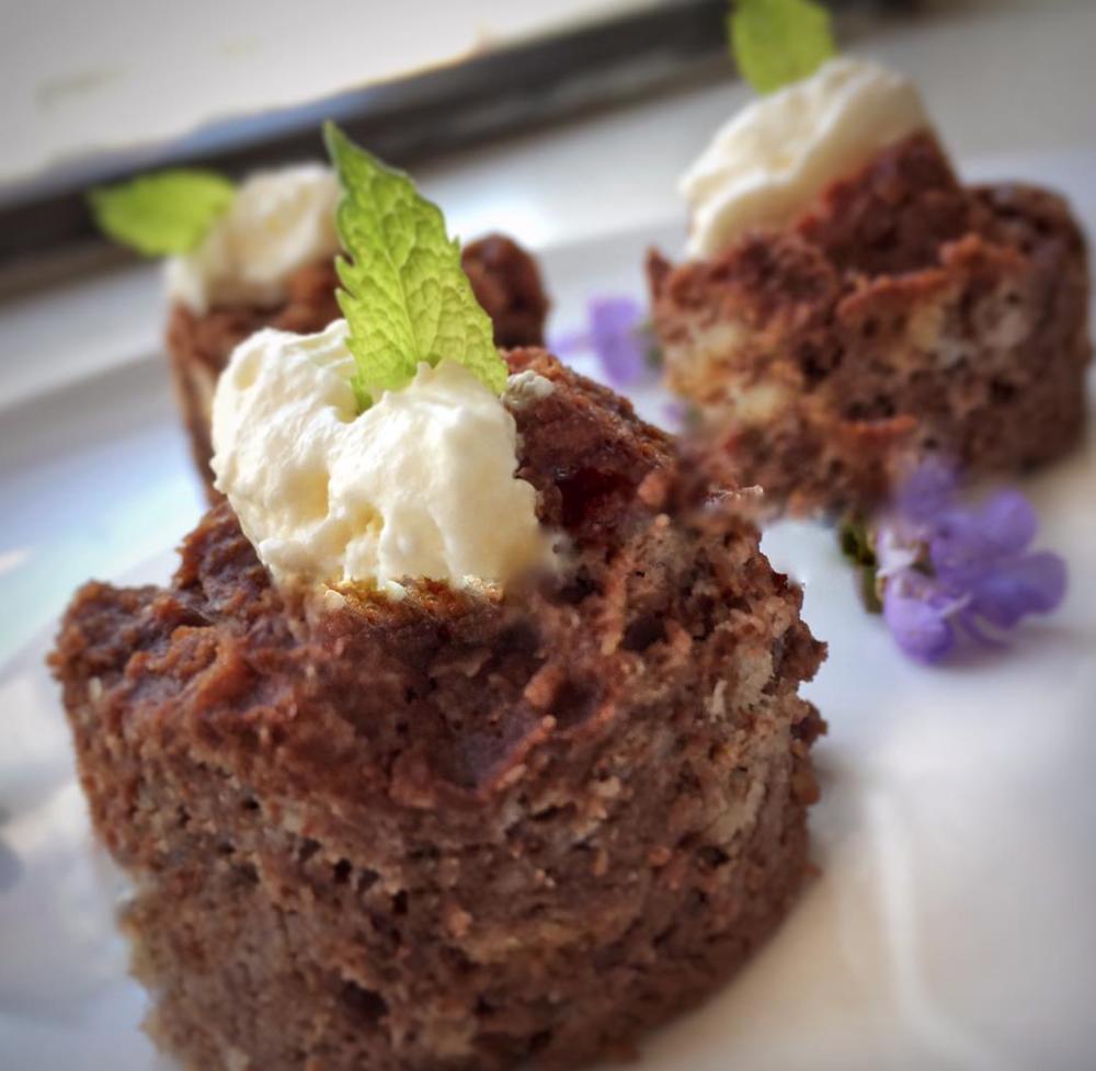 - Warm chocolate bread pudding bites