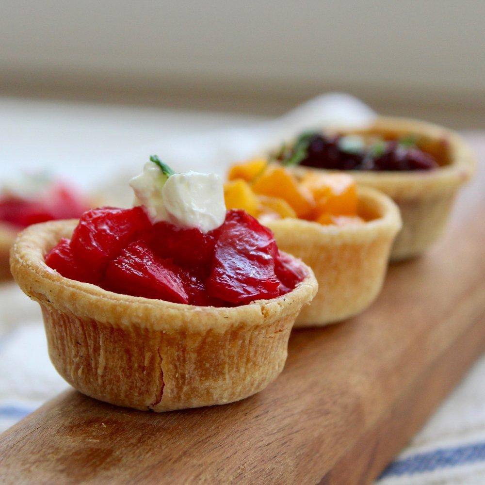 - Trio of miniature fruit tarts in seasonal flavors