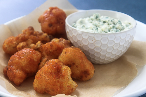 - Buffalo fried cauliflower with Jasper Hill blue cheese dipping sauce