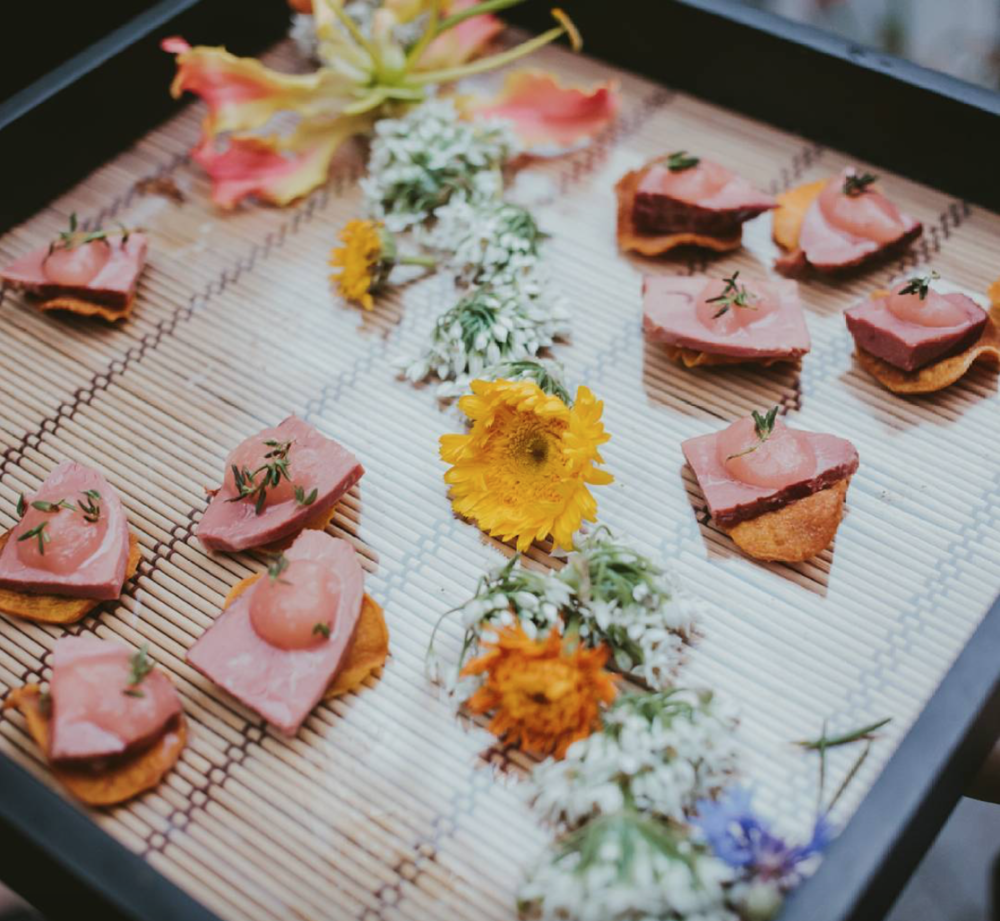 - Smoked duck on sweet potato chip with rhubarb and ginger