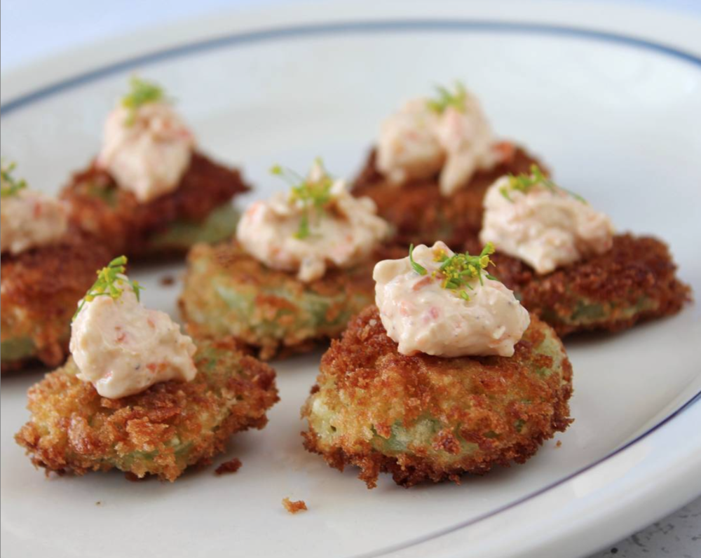 - Miniature fried green tomato with pimento cheese