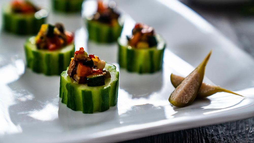 - Eggplant caponata in cucumber cups