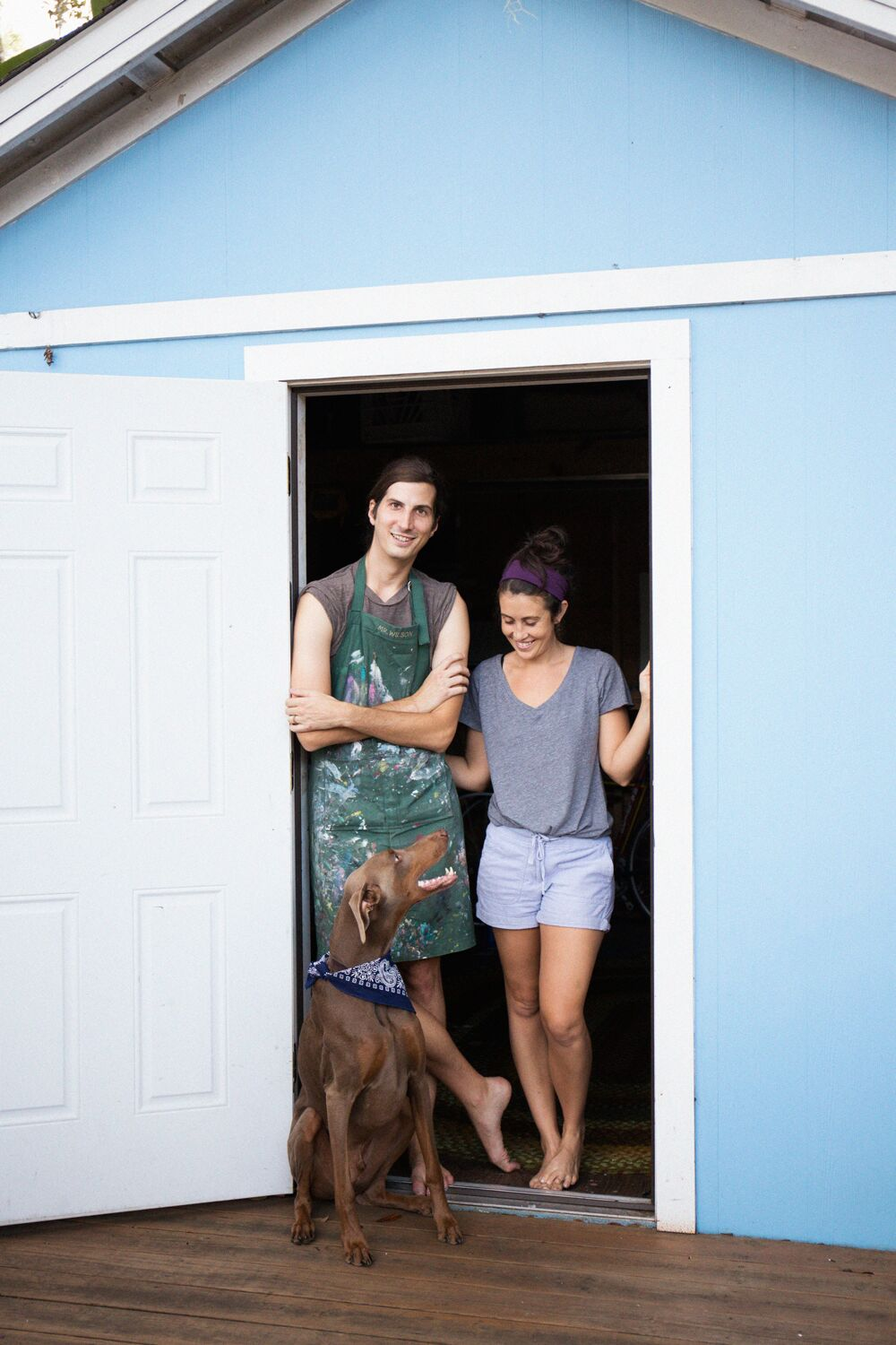 Me and Andrew (+ Escher, our fawn Doberman), in our backyard STA FLA studio. Photos by Kelsey Heinze.