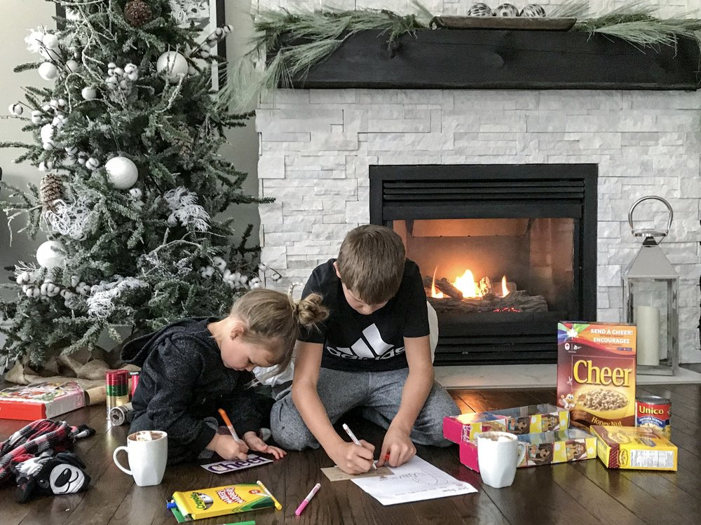 Here are the youngest two working away on some of their Christmas Projects