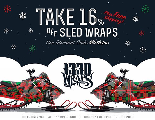 'Tis the season! Save now through the end of the year on all sled wraps! Plus free shipping! Only at 1330wraps.com Use code 'Mistletoe' at checkout 🎄☃️🌨 #1330wraps #snow #snowmobile  #sledjunkies #gbwraps #sledwraps #christmas #sale #polaris #braap #mistletoe #redandgreen #shredcity