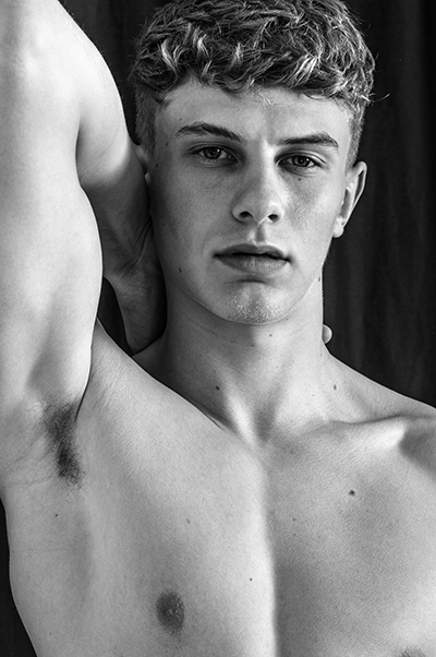 Tristan S@25modelmgmt male model- men-debut, bristol fashion black and white