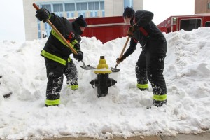 shoveling fire hydrants