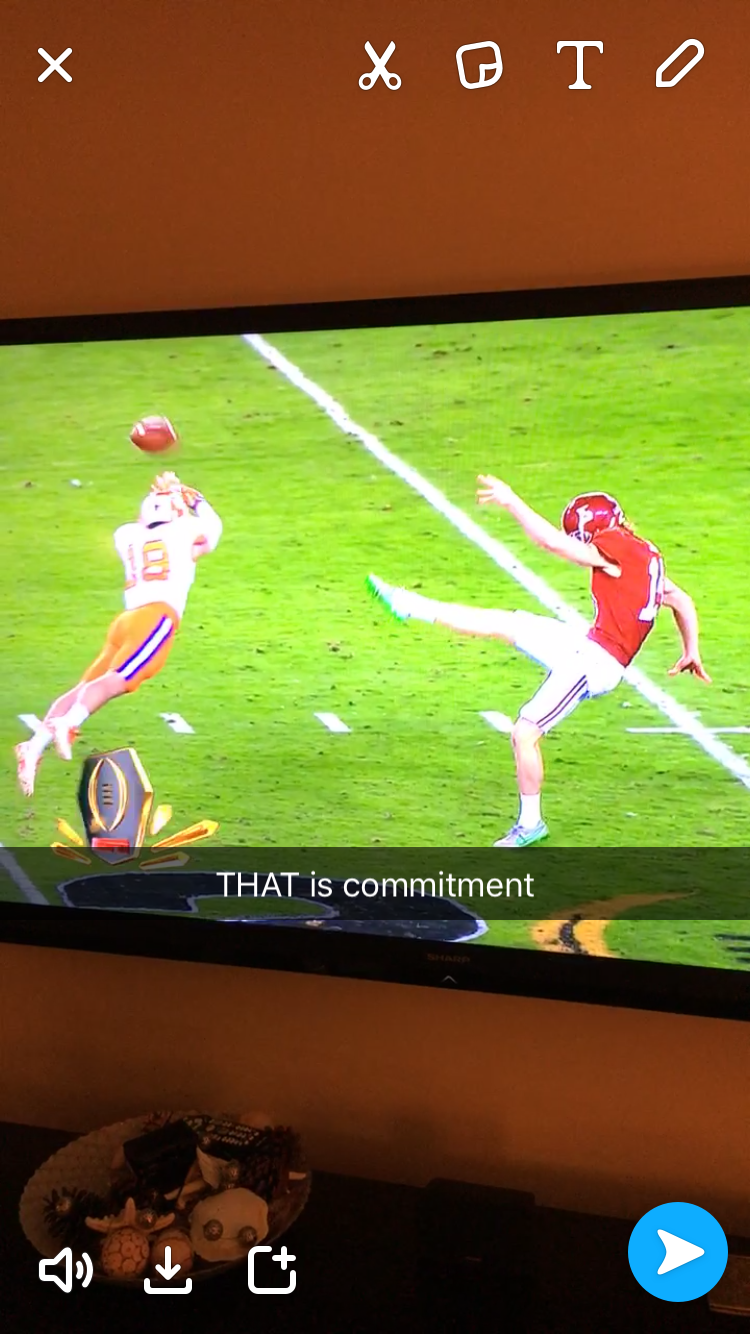 Clemson's Hunter Muse laying out to block a punt in Monday's National Championship game.