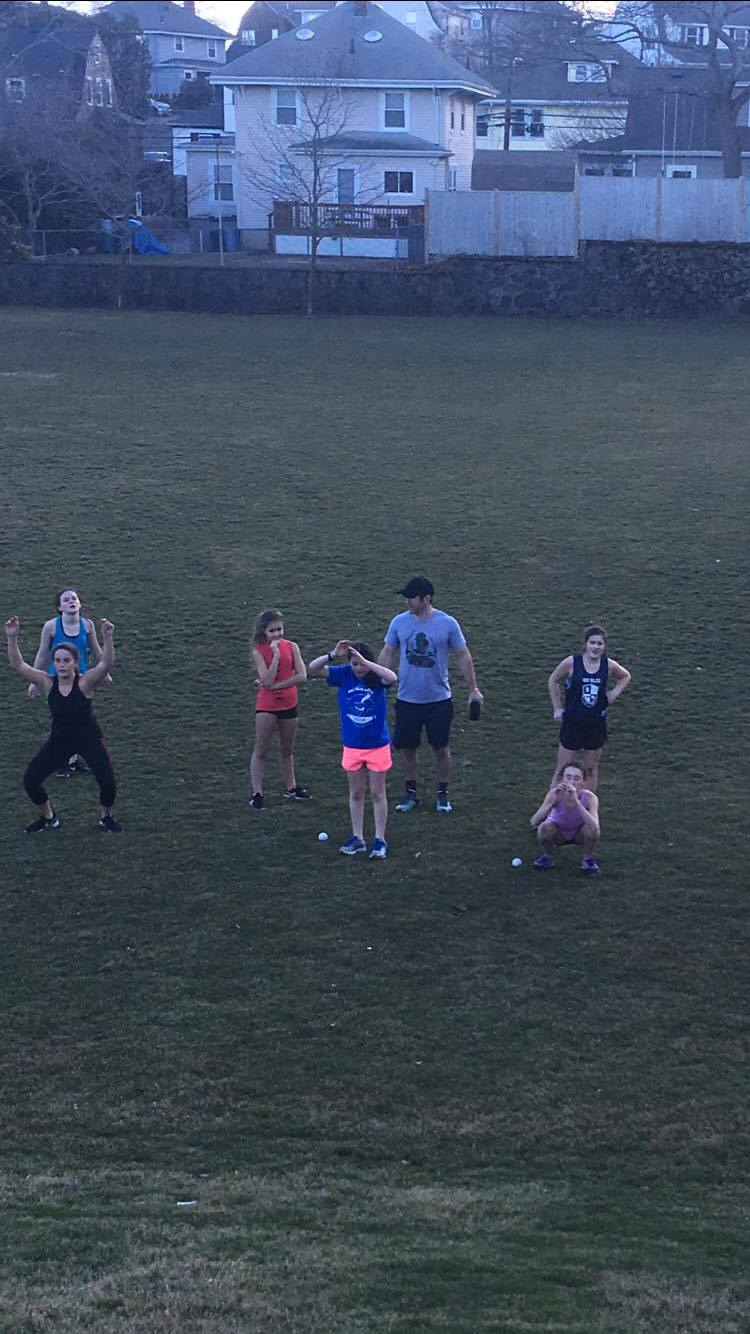 Coach Mike bringing the Teen's Class through a workout....hill sprints were next....