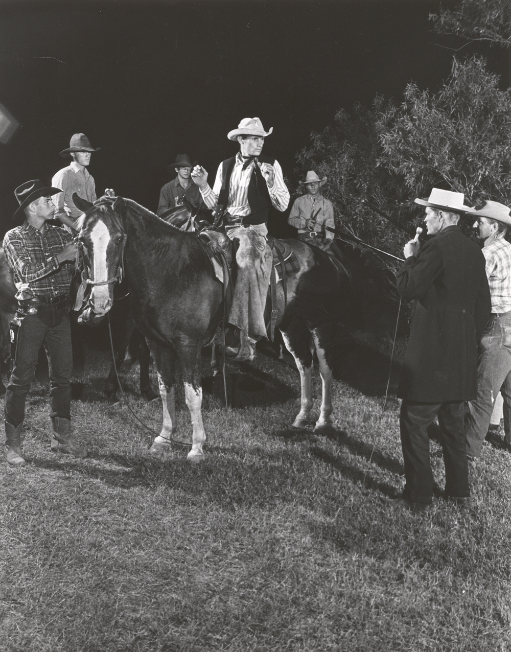George Harvick, Terry Moberly, Bill Farmer, Harold Law, Richard Middlebrook (singing), Clifford Teinert (horseback).jpg