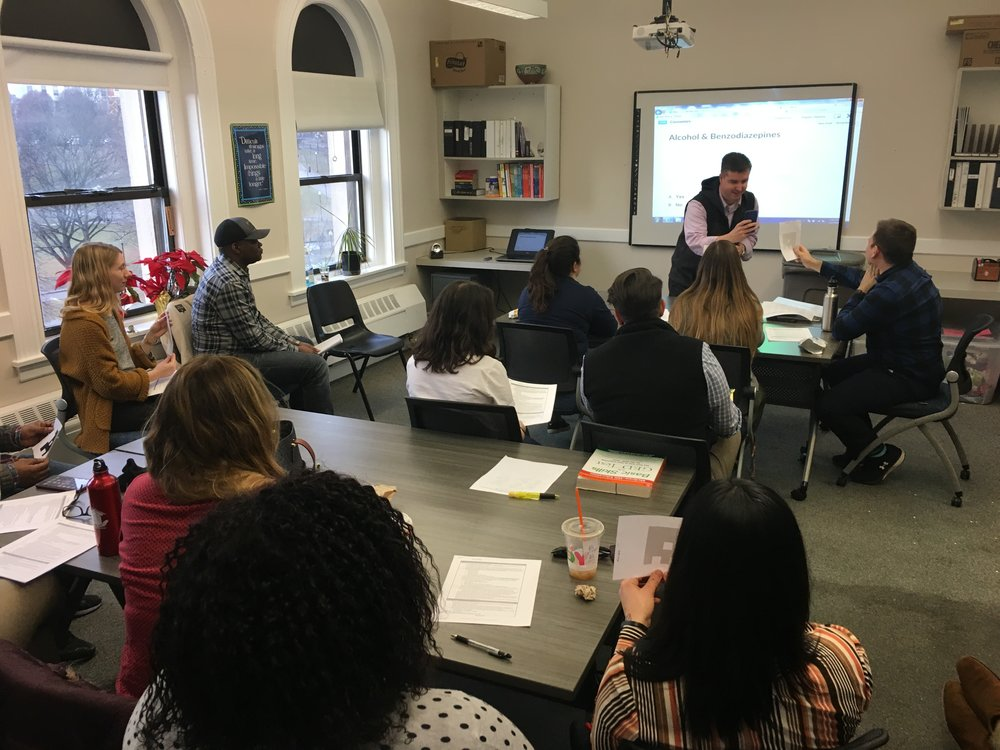 Peter Ducharme, Director of Programs at Bridge, leads a workshop on how to conduct substance abuse assessments.