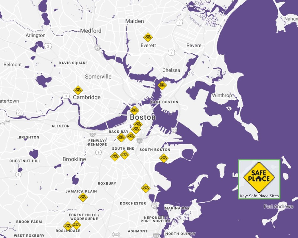 Map of Safe Place sites