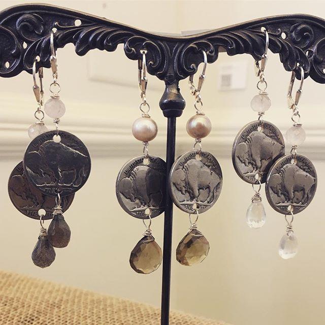 handmade buffalo nickel earrings with semiprecious gemstones by @collimama #handmade #madebywomen #madebywomenforwomen #madebywomenartisans #celebrateherstory #buffalo #buffalove #buffalonickel