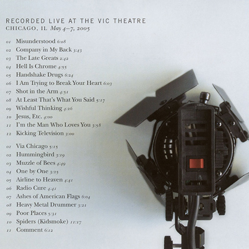Back cover and full track listing of 'Kicking Television: Live in Chicago'
