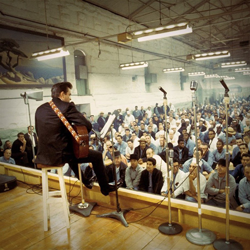 Cash performing for an, ahem,  captive  crowd at Folsom State Prison