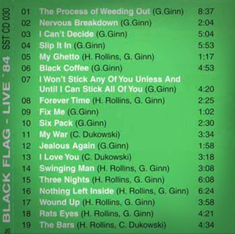 Full 'Live '84' track list. Not included: ear plugs.