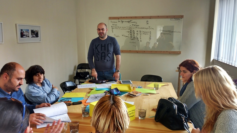 Stavros Stavrou leading his Lyric Writing Workshop in Greek at Write CY, 19 March, 2016