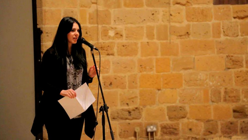 Marilena zackheos reading at the diversity arts festival 2015