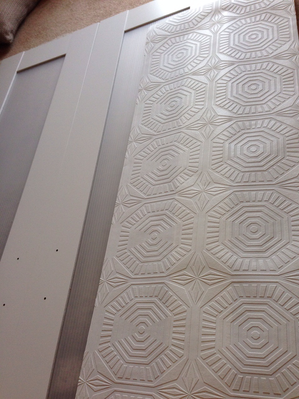 Once I Cut The Wallpaper Strip To Size Applied One Coat Of Mod Podge Panel Then Carefully Placed Paper In Place