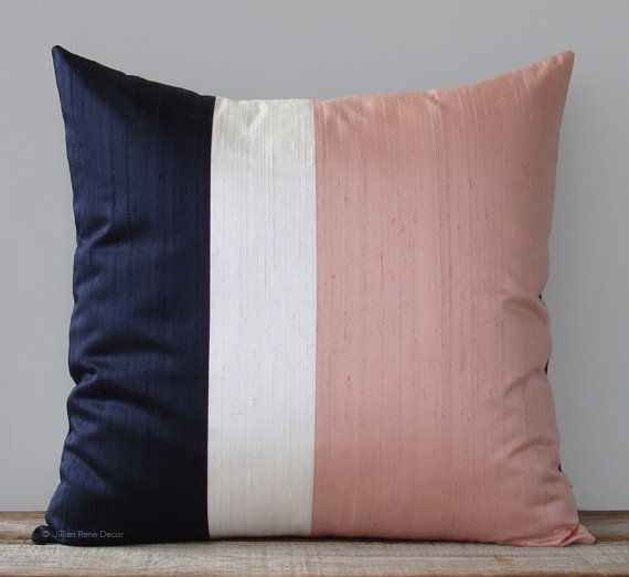 navy pink cushion