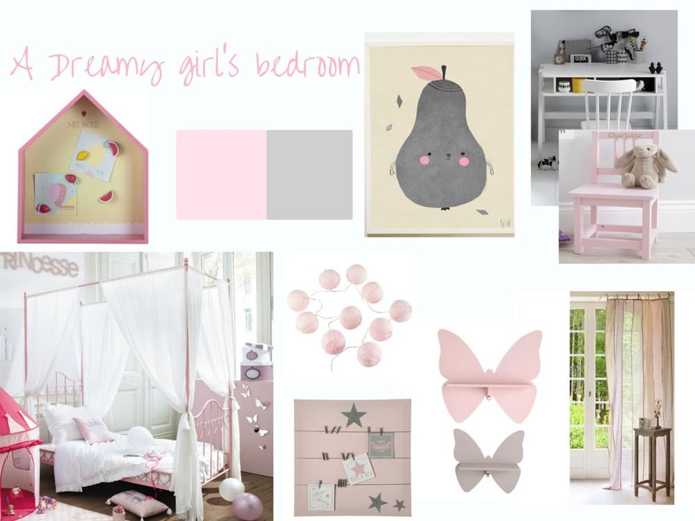 A grey & pink girl's bedroom moodboard