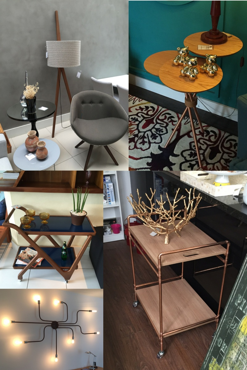 The 'leaning-on-the-wall' floor lamp was one of my favourite pieces, along with the gold bears (top right)  and this copper and wood industrial bar cart (bottom right)! I wanted to bring them all in my suitcase!