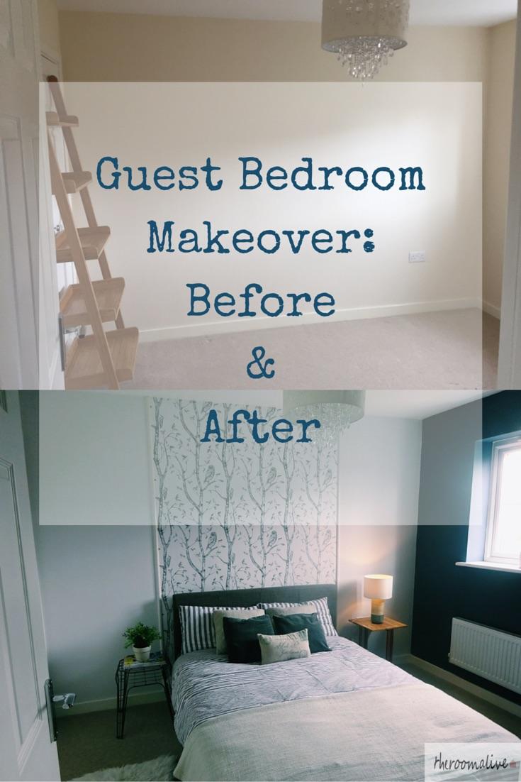 guest bedroom makeover before and after headboard wallpaper