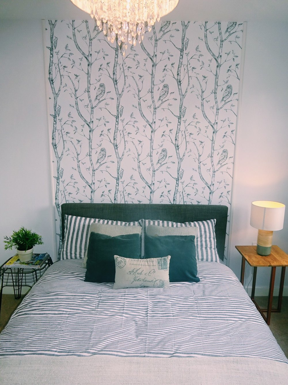Stick on wallpaper is a great option for tenants