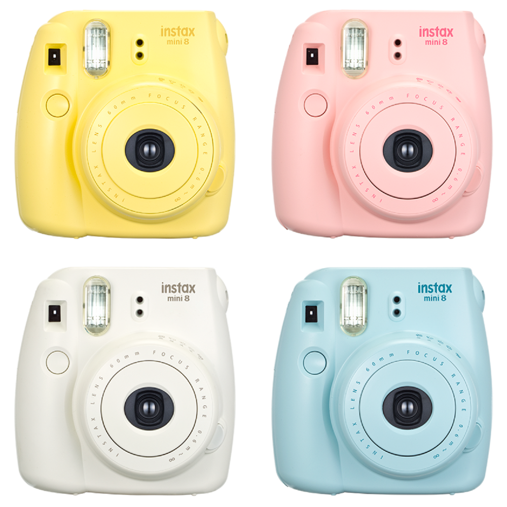 Instax Mini 8 in pastel colours. There are 7 colours to chose from starting at £65 from Amazon.