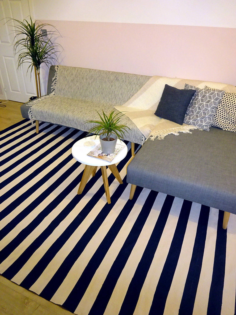 darlings of chelsea catamaran stripe rug navy blue