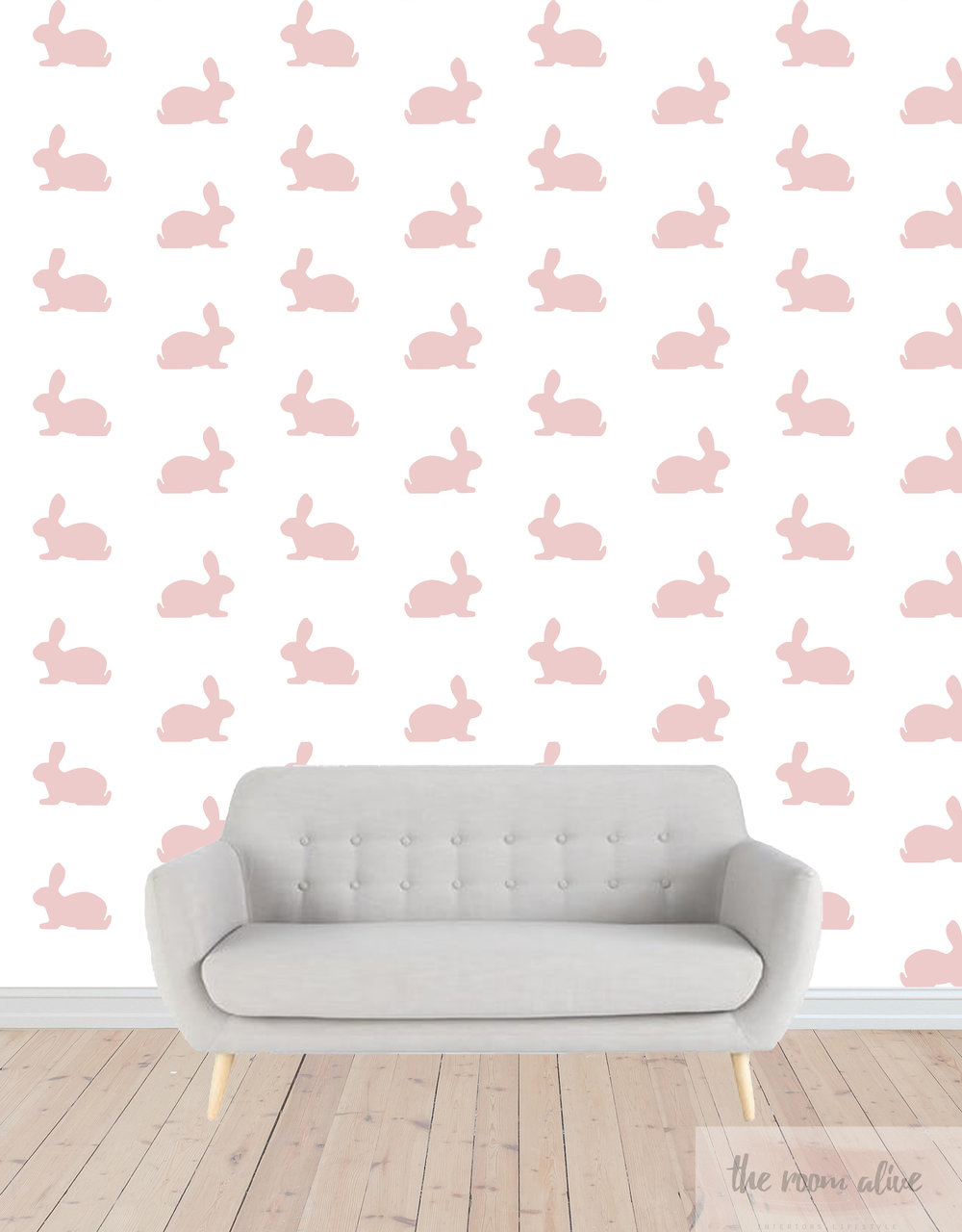 blush bunny on wall with sofa.jpg